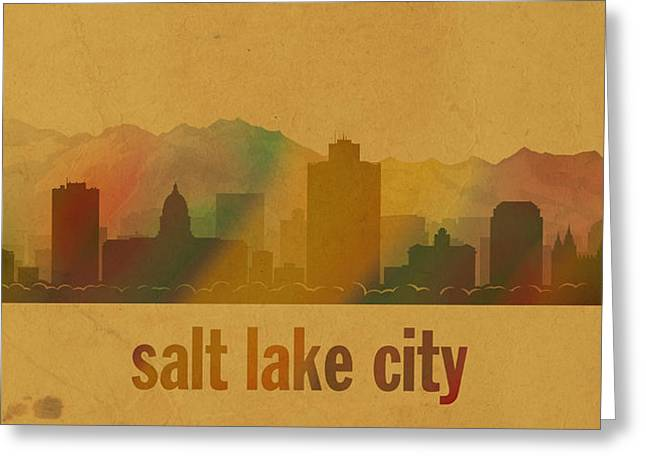 Salt Lake City Greeting Cards - Salt Lake City Utah City Skyline Watercolor On Parchment Greeting Card by Design Turnpike