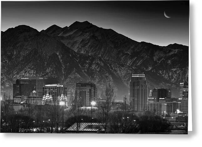 Recently Sold -  - Snowy Evening Greeting Cards - Salt Lake City Utah Skyline Greeting Card by Utah Images