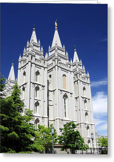 Slc Greeting Cards - Salt Lake Mormon Temple Greeting Card by Charline Xia