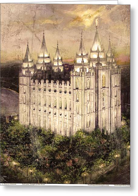 Slc Paintings Greeting Cards - Salt Lake Temple in the Evening  Antique Pink Greeting Card by Marcia Johnson