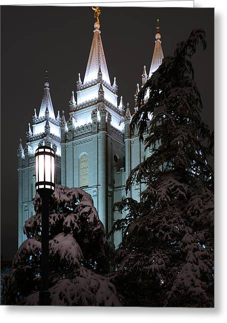 Temple Square Greeting Cards - Salt Lake Temple in the Snow Greeting Card by Dustin  LeFevre