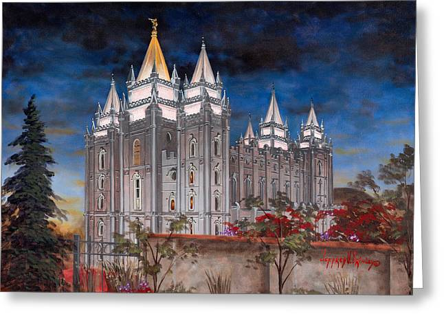 Church Greeting Cards - Salt Lake Temple Greeting Card by Jeff Brimley