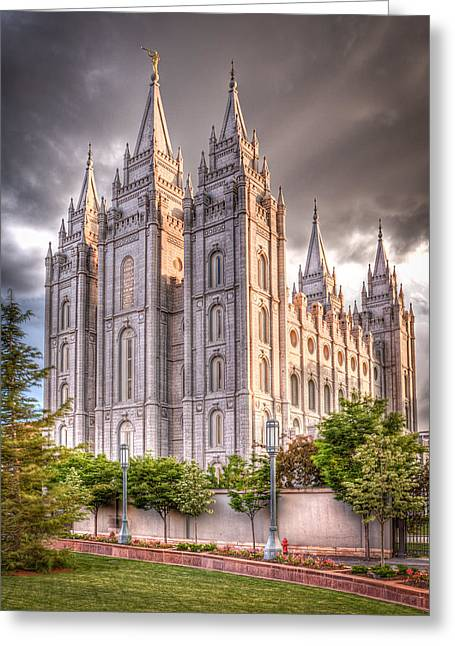 Hdr (high Dynamic Range) Greeting Cards - Salt Lake Temple Greeting Card by Niels Nielsen