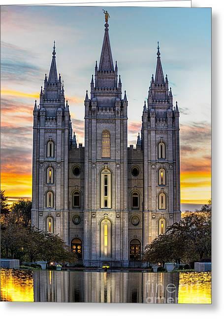 Salt Lake City Temple Digital Art Greeting Cards - Salt Lake Temple Sunset Greeting Card by Jerry Fornarotto