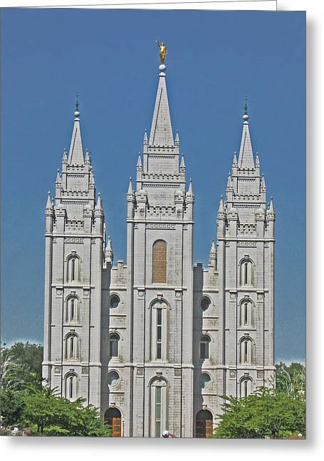 Salt Lake City Temple Digital Art Greeting Cards - Salt Lake Temple Greeting Card by VaLon Frandsen