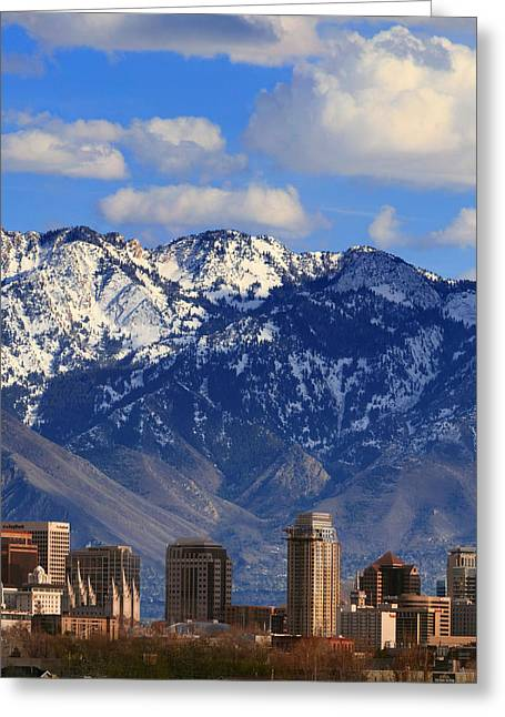 Salt Lake City Temple Greeting Cards - Salt Lake Valley Utah Greeting Card by Utah Images