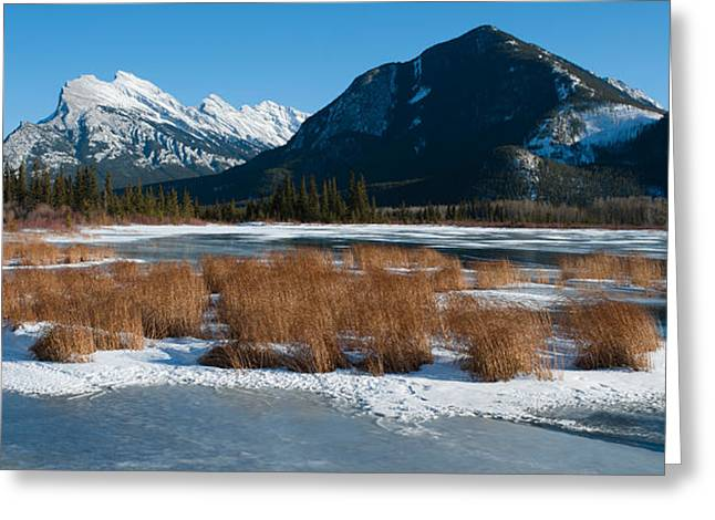 Rundle Greeting Cards - Salt Lake With Mountain Range Greeting Card by Panoramic Images