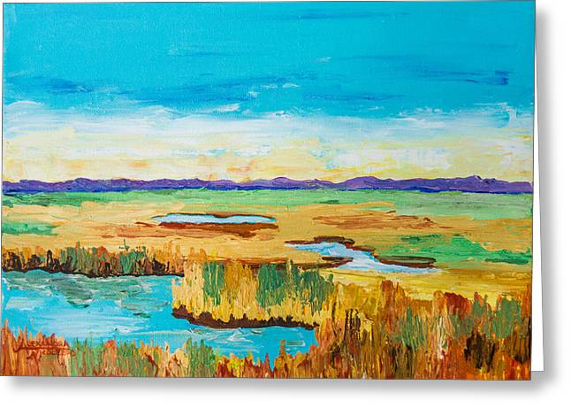Golden Marsh Greeting Cards - Salt Marsh Hues Greeting Card by Alexandra Nicole Newton