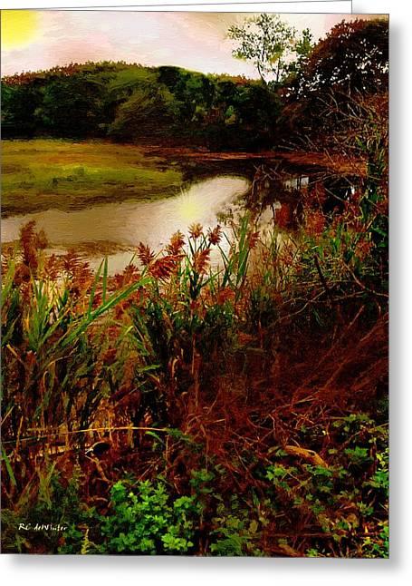 Stream Digital Art Greeting Cards - Salt Marsh Sunrise Greeting Card by RC deWinter