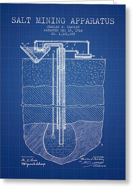 Mining Greeting Cards - Salt Mining Apparatus Patent From 1914 - Blueprint Greeting Card by Aged Pixel