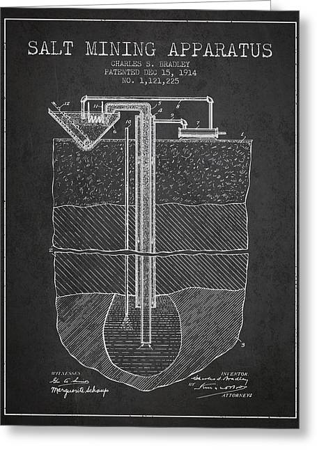 Mining Greeting Cards - Salt Mining Apparatus Patent From 1914 - Charcoal Greeting Card by Aged Pixel