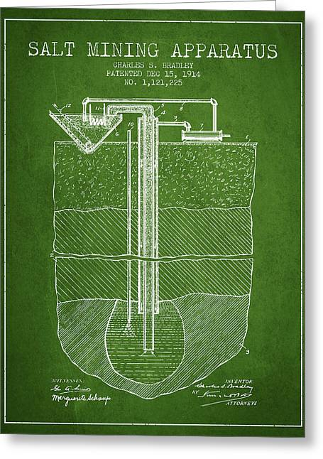 Mining Greeting Cards - Salt Mining Apparatus Patent From 1914 - Green Greeting Card by Aged Pixel