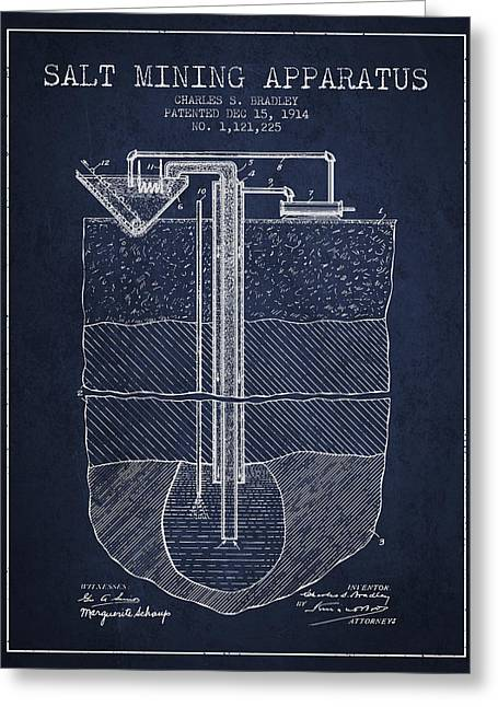 Mining Greeting Cards - Salt Mining Apparatus Patent From 1914 - Navy Blue Greeting Card by Aged Pixel