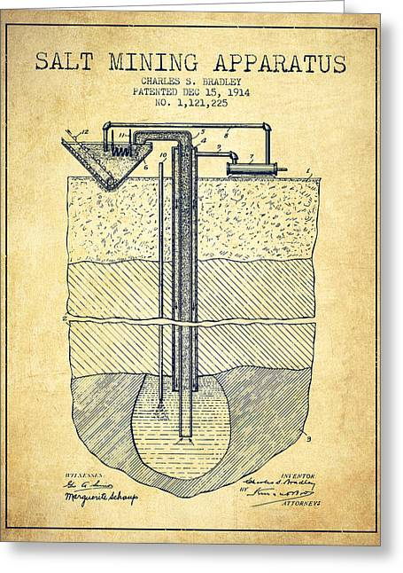 Mining Greeting Cards - Salt Mining Apparatus Patent From 1914 - Vintage Greeting Card by Aged Pixel