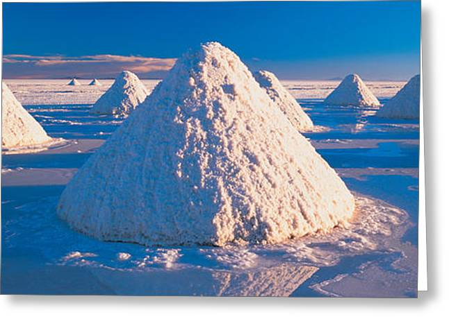 Repetition Greeting Cards - Salt Pyramids On Salt Flat, Salar De Greeting Card by Panoramic Images