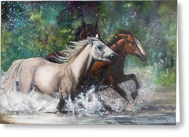 Chatham Paintings Greeting Cards - Salt River Horseplay Greeting Card by Karen Kennedy Chatham