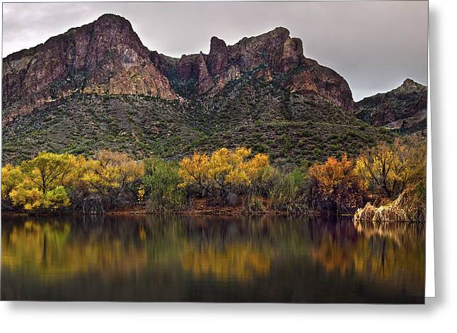 Salt River Mountain Reflections Greeting Card by Dave Dilli