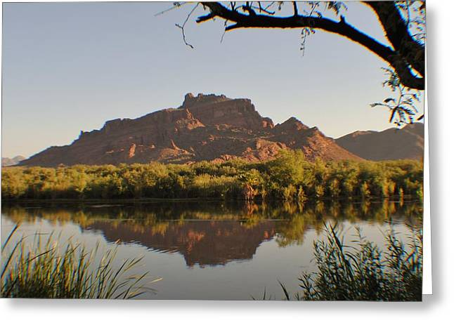 Salt River Reflections Greeting Card by Edward Curtis