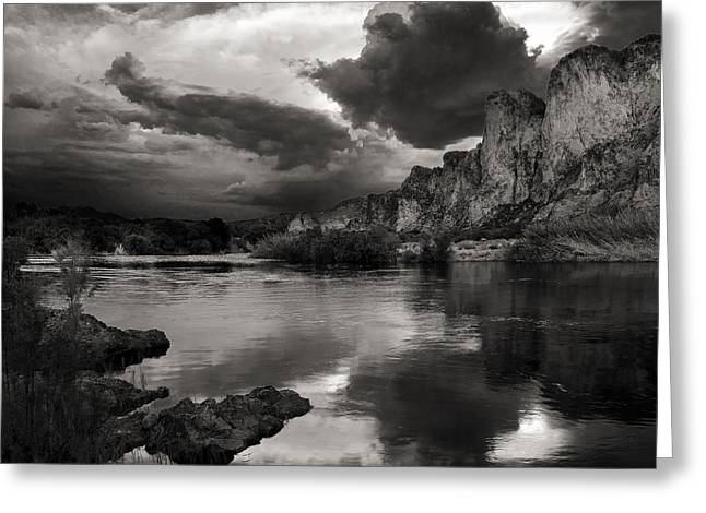 Grey Clouds Greeting Cards - Salt River Stormy Black and White Greeting Card by Dave Dilli