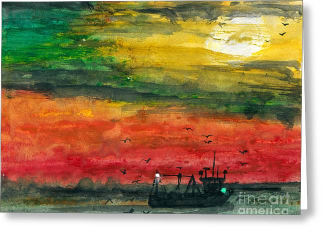 Gloaming Mixed Media Greeting Cards - Salt Water Greeting Card by R Kyllo