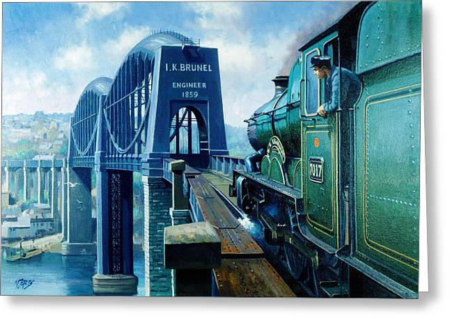 Saltash Bridge. Greeting Card by Mike  Jeffries