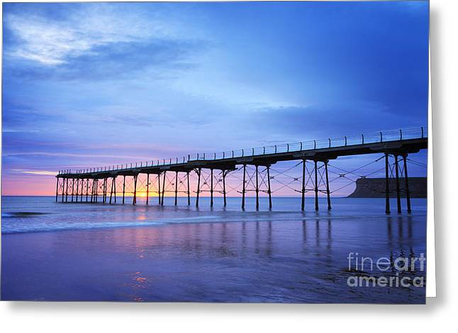 Cleveland Photographs Greeting Cards - Saltburn Pier at Dawn Greeting Card by Colin and Linda McKie