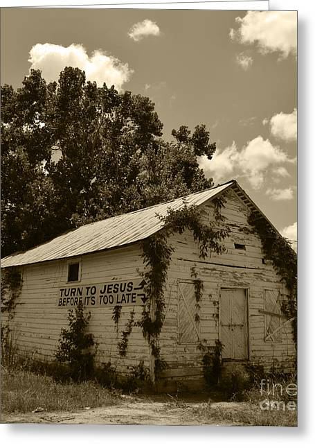 Historic Country Store Greeting Cards - Salters Path From House to Buildboard NC Sepia Greeting Card by Christine  Dekkers