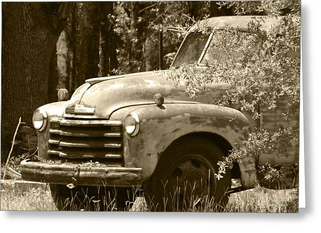 Historic Country Store Greeting Cards - Salters Path Ole Rusty Truck NC Sepia Greeting Card by Christine  Dekkers