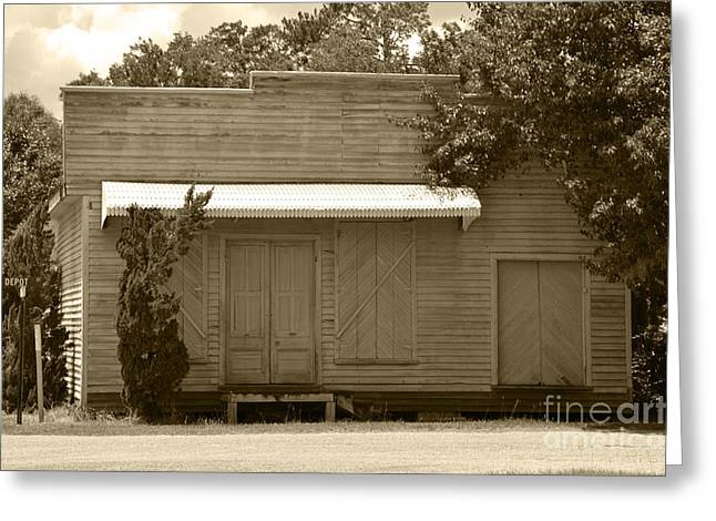 Historic Country Store Greeting Cards - Salters Path Train Station Country Store and Inn NC Sepia Greeting Card by Christine  Dekkers