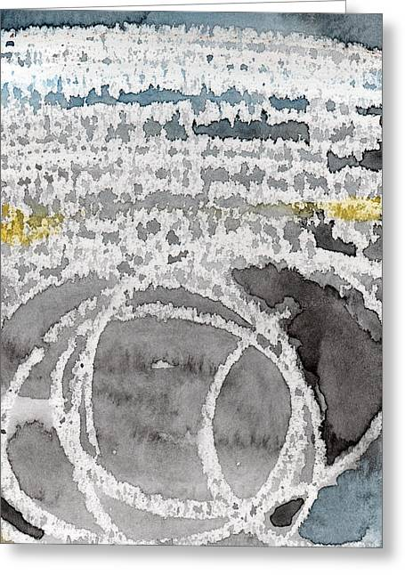 Lines Mixed Media Greeting Cards - Saltwater- abstract painting Greeting Card by Linda Woods