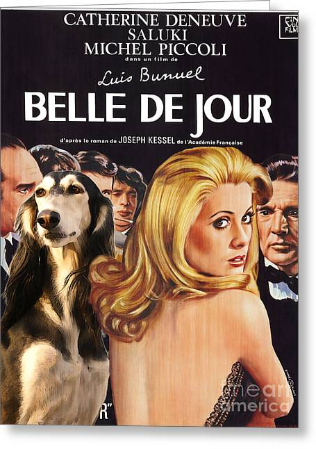 Dog Prints Greeting Cards - Saluki Art - Belle de Jour Movie Poster Greeting Card by Sandra Sij