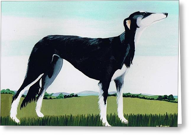 White Fur Greeting Cards - Saluki Cross Greeting Card by Maggie Rowe