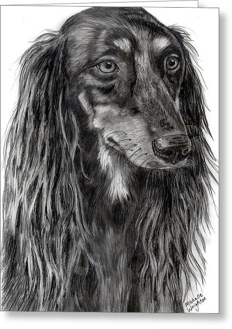 Saluki Black And White Drawing Greeting Card by Michelle Wrighton