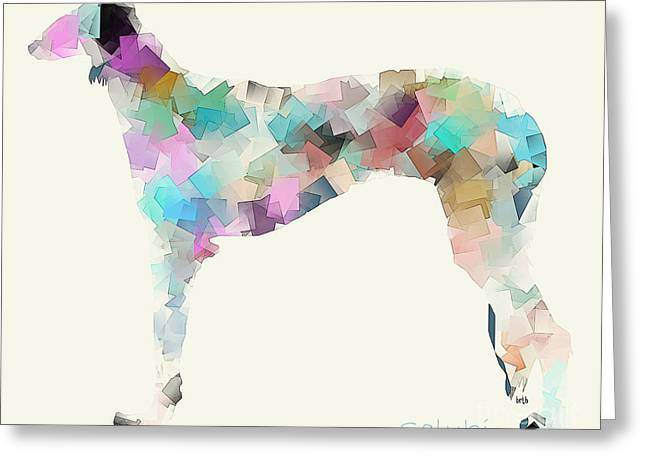 Abstract Of Dogs Greeting Cards - Saluki Modern  Greeting Card by Bri Buckley