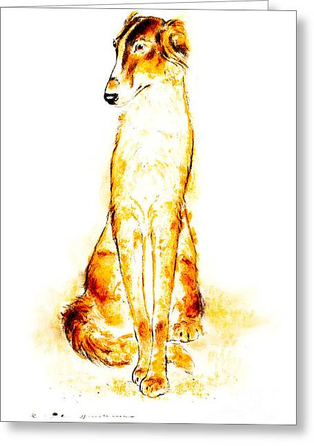 Greyhound Dog Pastels Greeting Cards - Saluki portrait Greeting Card by Kurt Tessmann