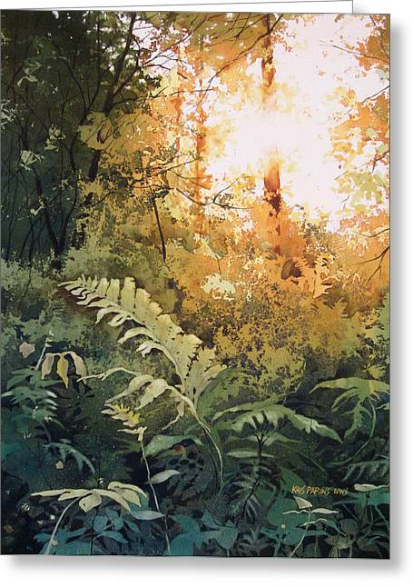 Old Growth Greeting Cards - Salute to the Sun Greeting Card by Kris Parins