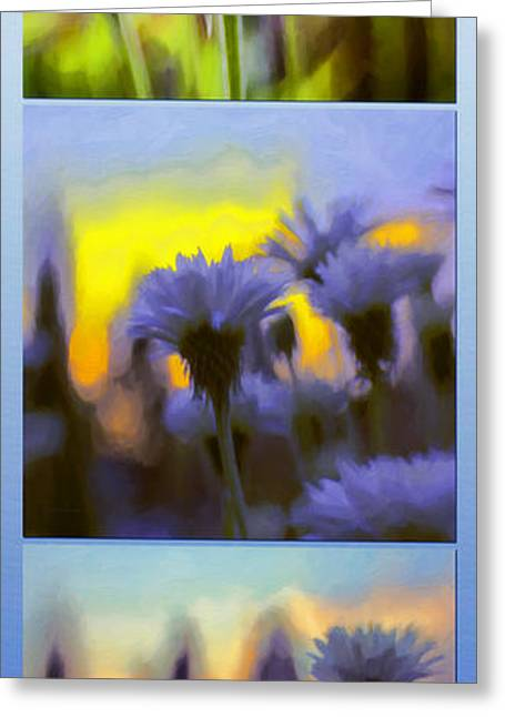 Amazing Sunset Greeting Cards - Salute Triptych Greeting Card by Jean OKeeffe Macro Abundance Art