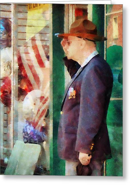 American Flags Greeting Cards - Saluting the Flag Greeting Card by Susan Savad