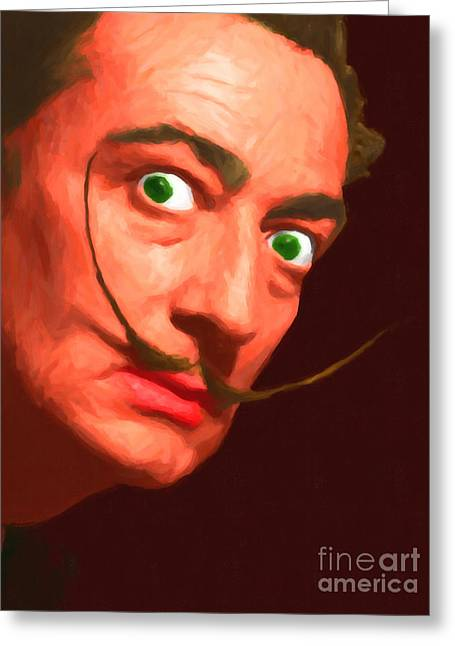 Vintage Painter Greeting Cards - Salvador Dali 20141213 v1 Greeting Card by Wingsdomain Art and Photography