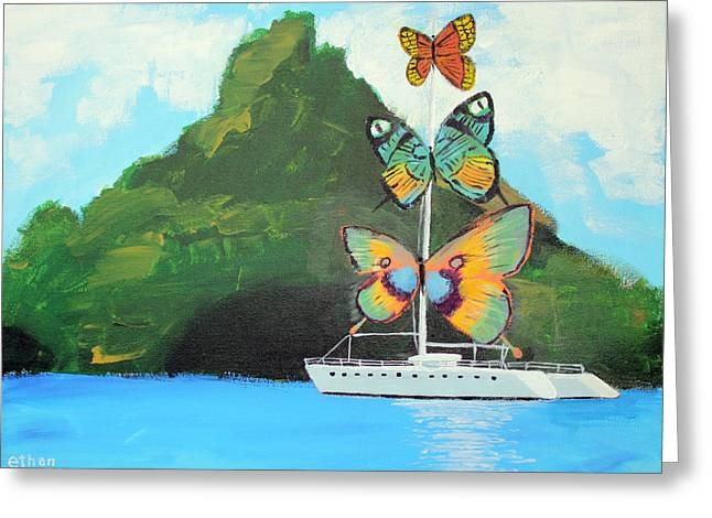 Dali Inspired Greeting Cards - Salvador Dali inspired Butterfly Catamaran Greeting Card by Ethan Altshuler