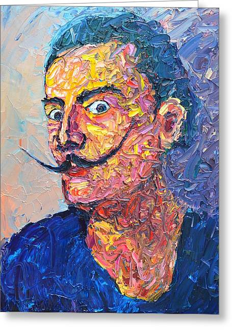 Mad Artist Greeting Cards - Salvador Dali Portrait Greeting Card by Ana Maria Edulescu