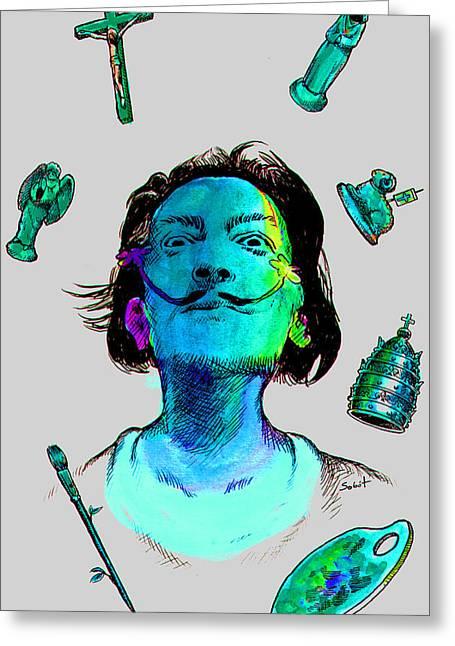 Jesus Christ Icon Drawings Greeting Cards - Salvador Dali surrealist Greeting Card by Magdalena Walulik