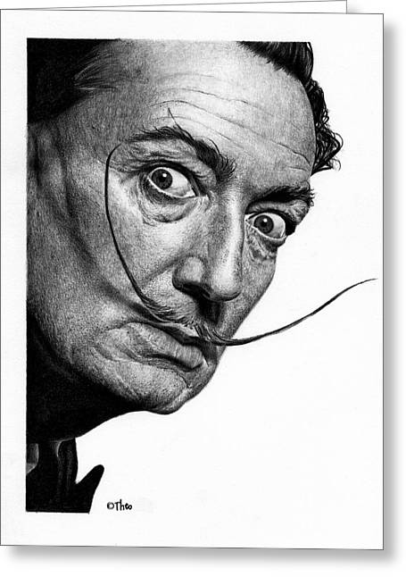Surreal Landscape Drawings Greeting Cards - Salvador Dali Greeting Card by Thodoris Stratigos