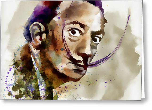 Mustaches Mixed Media Greeting Cards - Salvador Dali watercolor Greeting Card by Marian Voicu