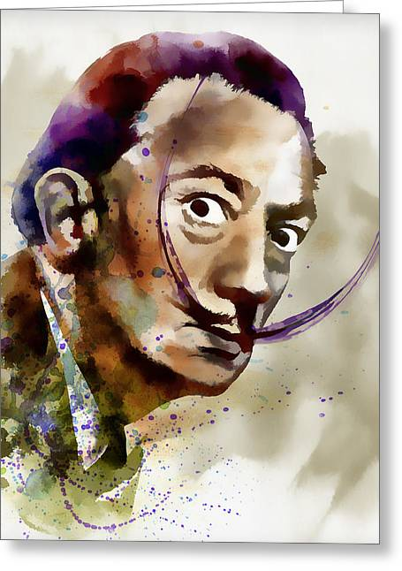 Catalan Greeting Cards - Salvador Dali watercolor Greeting Card by Marian Voicu
