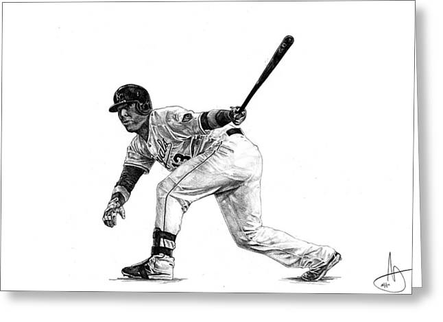 Salvador Perez Greeting Card by Joshua Sooter
