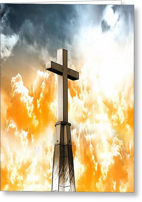 Jesus Mixed Media Greeting Cards - Salvation From Heaven Greeting Card by Aaron Berg