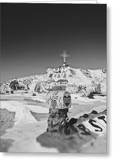 Salvation Mountain Greeting Cards - Salvation mountain black and white Greeting Card by Nastasia Cook