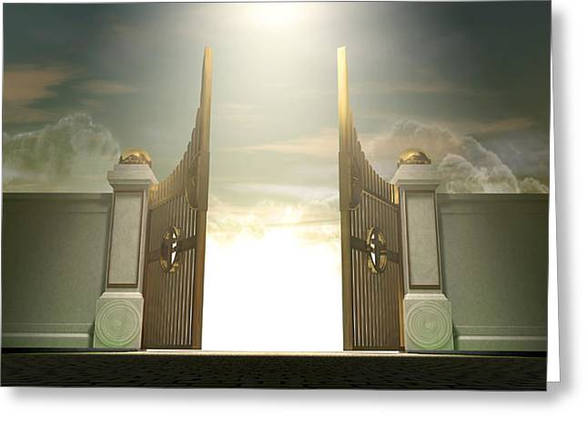 Kingdom Of Heaven Greeting Cards - Salvations Open Gates Greeting Card by Allan Swart