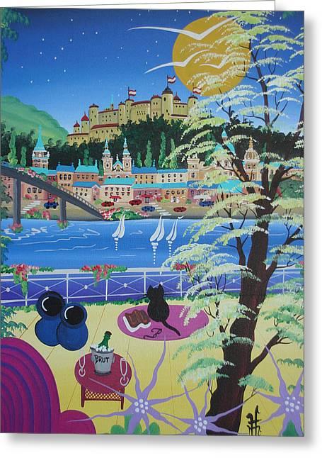 Salzburg Greeting Cards - Salzburg, Austria, 2012 Acrylic On Canvas Greeting Card by Herbert Hofer
